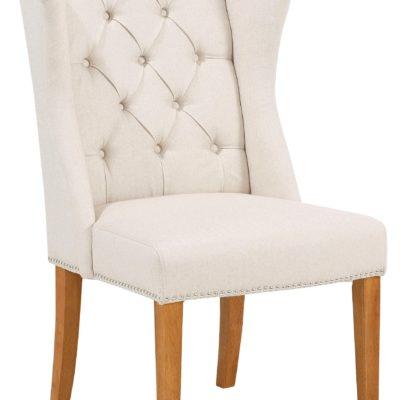 Elegancki, pikowany fotel z drewniana ramą - kremowy