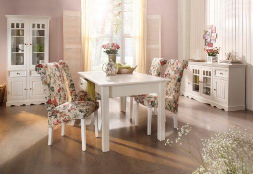 Piękne krzesła z motywem kwiatowym w stylu retro - 4 sztuki