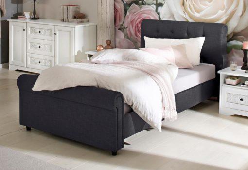 Piękne tapicerowane łóżko z wysokim wezgłowiem 100x200 cm