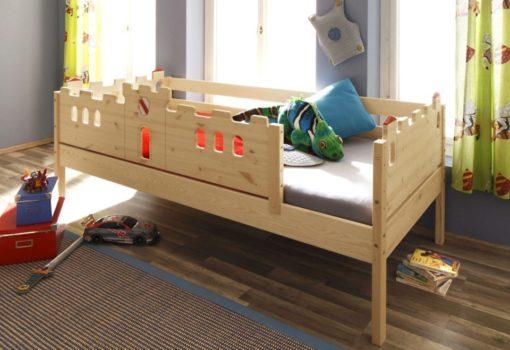 Łóżko dziecięce 90x200 cm o wyglądzie zamku