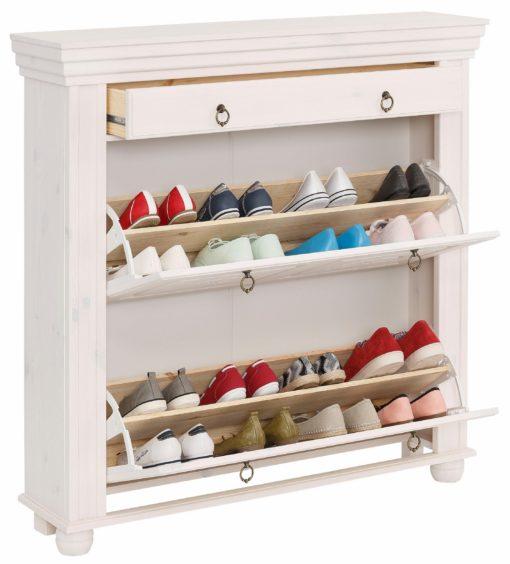 Stylowa szafka na buty w jasnym kolorze z szufladą