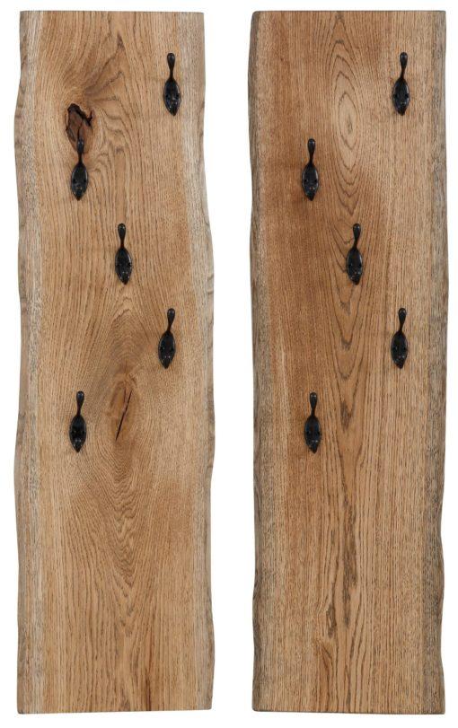 Para pięknych rustykalnych wieszaków z drewna dębowego