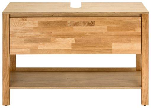 Nowoczesna szafka pod umywalkę z drewnianym frontem