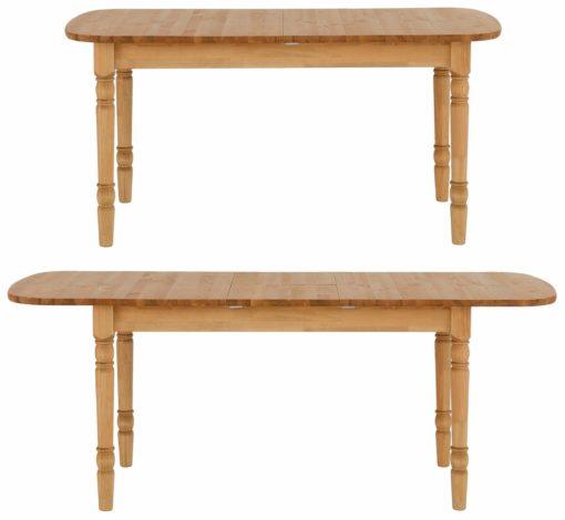 Piękny, sosnowy stół z toczonymi nogami 160 cm, rozkładany