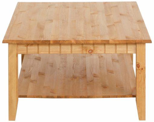 Piękny stolik kawowy z urokliwymi frezami z litego drewna