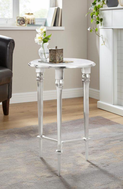 Cudowny stolik dekoracyjny z marmurowym blatem