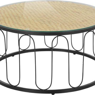 Niezwykły stolik z metalu, blat z plecionego hiacyntu wodnego