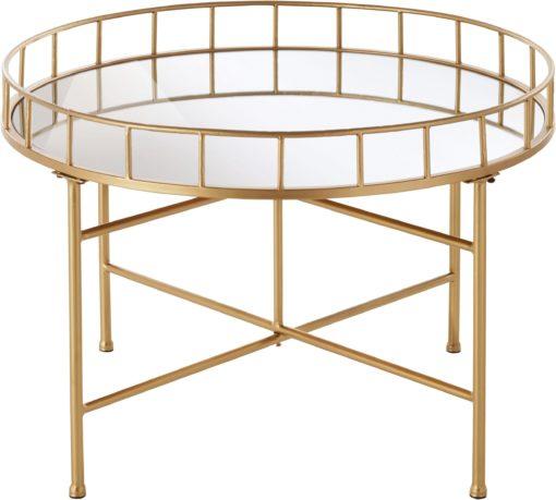 Niespotykany, złoty stolik z lustrzanym blatem
