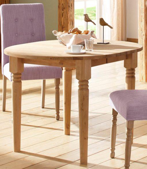Owalny, rozkładany stół 120 cm w rustykalnym stylu
