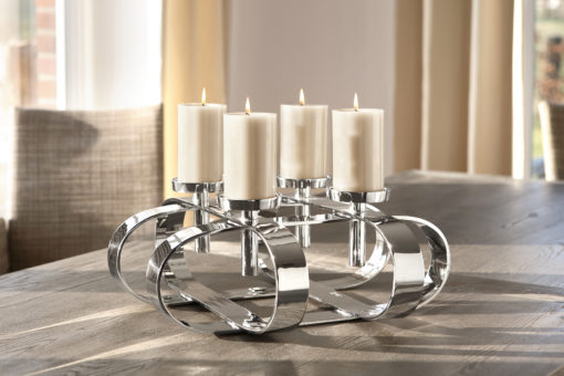 Przepiękny, niklowany świecznik - produkcja rzemieślnicza