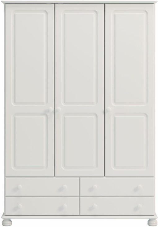 Trzydrzwiowa, biała szafa z szufladami
