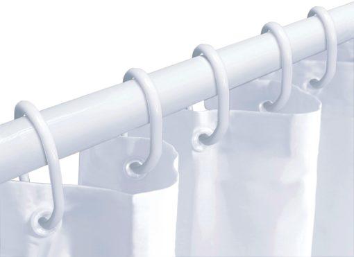 Zasłona prysznicowa z drążkiem i pierścieniami montażowymi