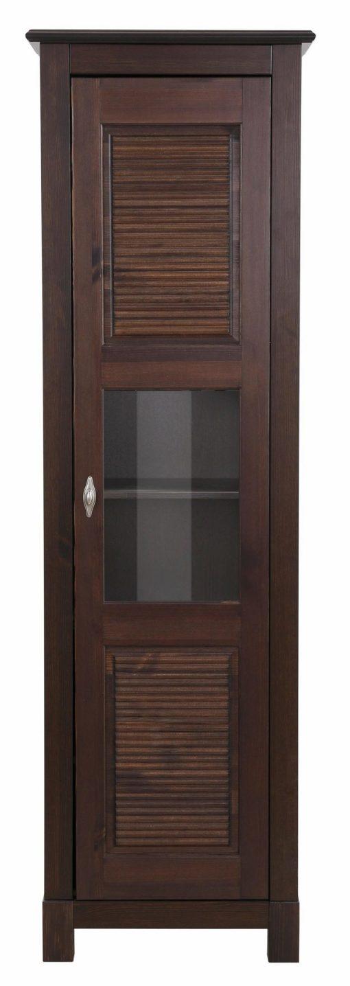 Elegancka witryna z przeszklonymi drzwiami i ozdobnymi frezami