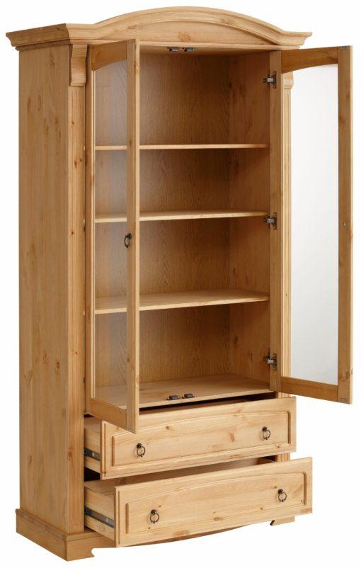Stylowa szafa z witryną i dwoma dużymi szufladami