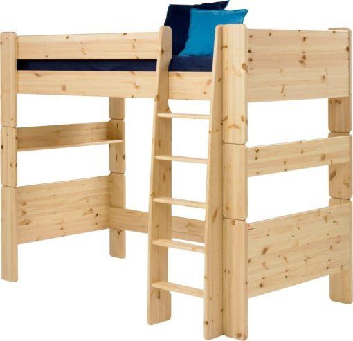 Stabilne łóżko na antresoli z drabinką, dla dzieci i młodzieży