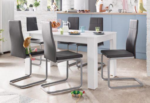 Nowoczesny zestaw, biały stół i 4 krzesła na płozach