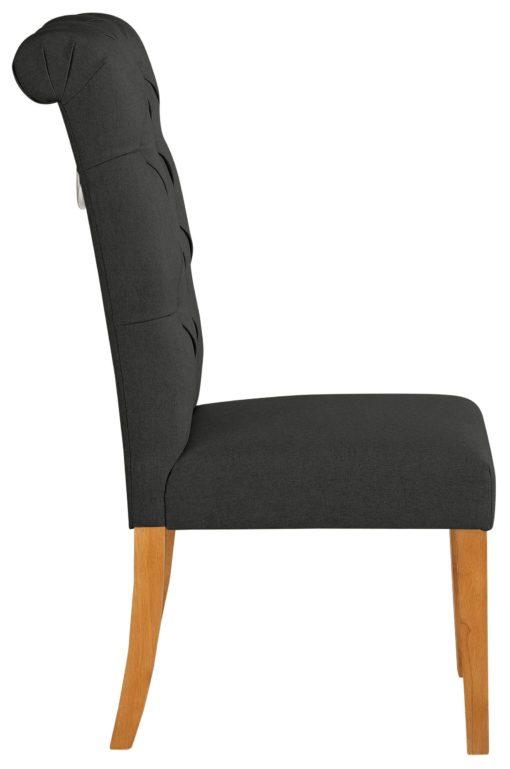 Antracytowe krzesła z pikowaniem i kołatką z tyłu _ 4 sztuki