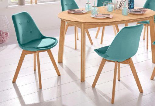 Zestaw dwóch krzeseł w stylu retro, w kolorze petrol