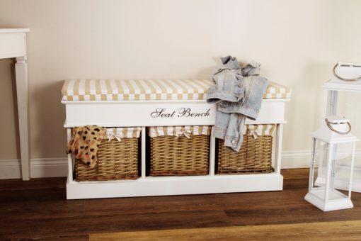 Urocza ławeczka z szufladami i poduszką