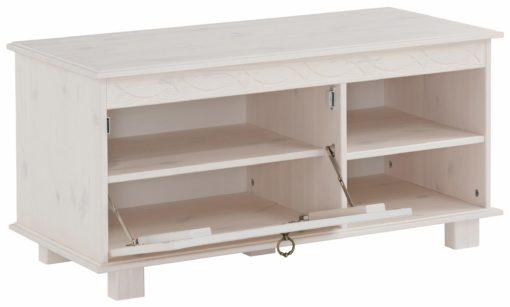 Sosnowa, biała ławka z miejscem do przechowywania
