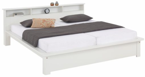 Białe łóżko z funkcjonalną półką160x200 cm