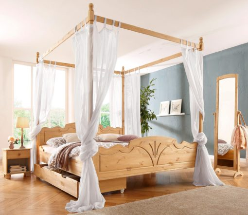 Pięknie zdobione, drewniane łóżko 180x200 cm