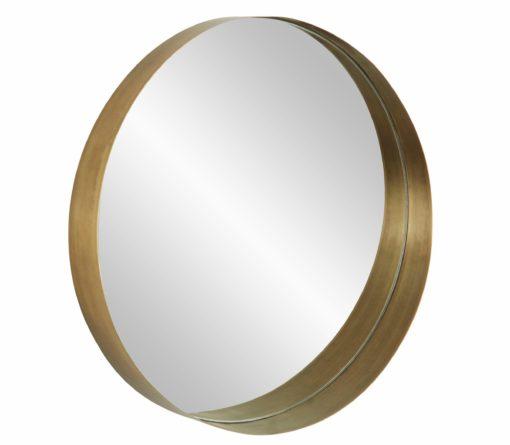 Okrągłe lustro z płaską ramą w kolorze złotym
