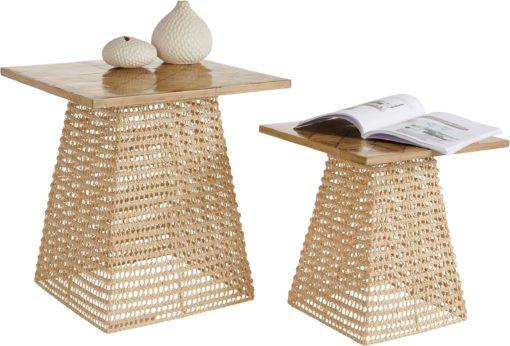 Komplet dekoracyjnych stolików z rattanu i bambusa
