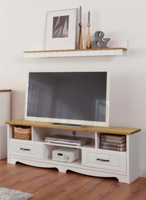 Cudna szafka pod telewizor w kontrastujących kolorach