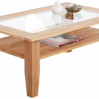 Elegancki stolik kawowy ze szklanym blatem i półką