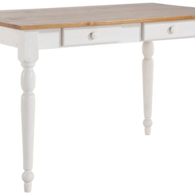 Sosnowy stół z toczonymi nogami i dwiema szufladkami