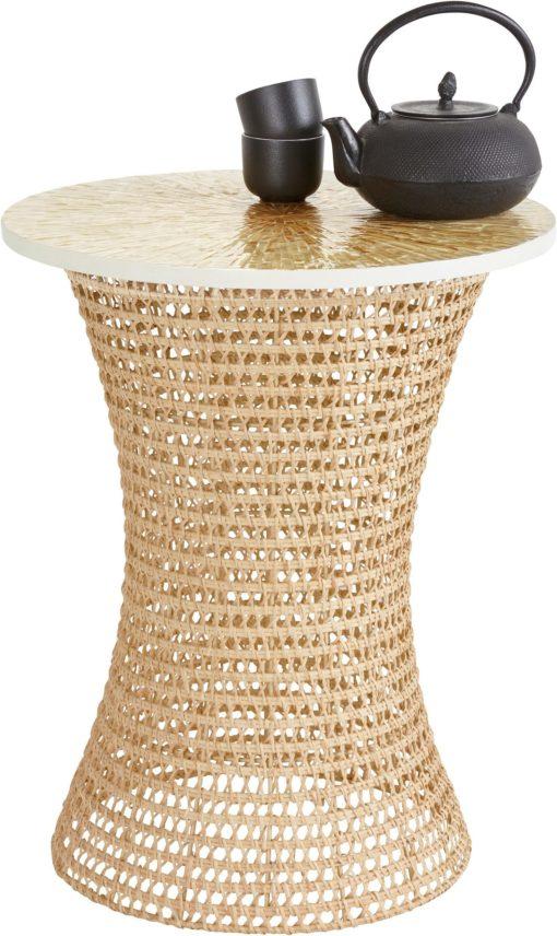 Stolik kawowy z rattanu, z bambusowym blatem