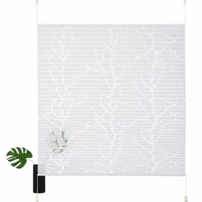 Biała, plisowana roleta z motywem drzewa  100 cm