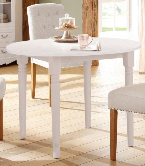 Okrągły, sosnowy stół 100 cm, w kolorze białym, rozkładany