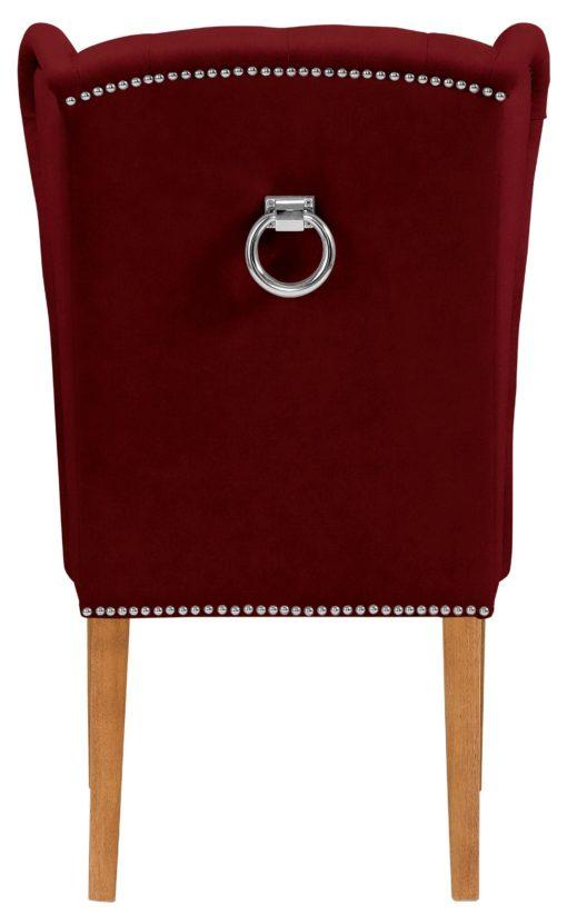Elegancki, pikowany fotel z drewniana ramą - bordowy