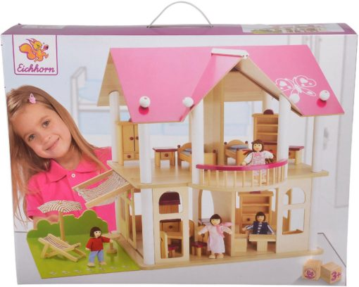 Wyposażony, drewniany domek dla lalek
