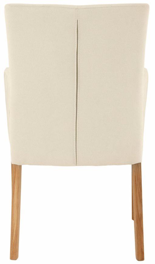 Stylowy i elegancki fotel tapicerowany tkaniną w kolorze beżowym