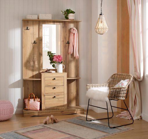 Kompaktowa garderoba z lustrem i wieszakami