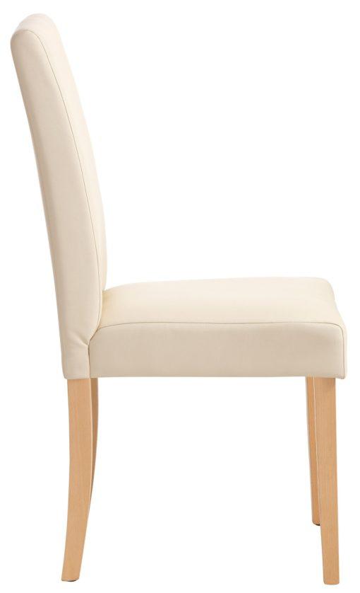 Stylowe krzesła tapicerowane sztuczna skórą, beżowe 6 sztuk