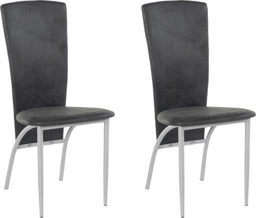 Futurystyczne, antracytowe krzesła z metalową ramą - 4 sztuki