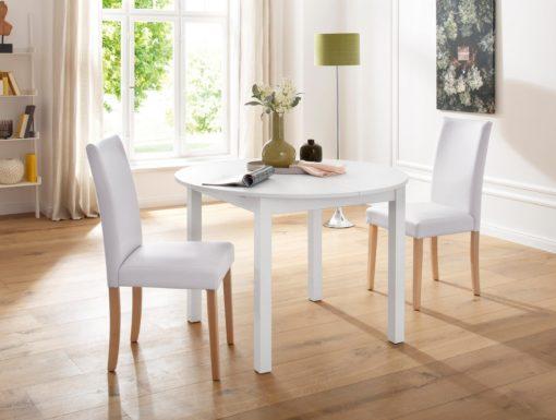 Stylowe krzesła tapicerowane sztuczna skórą, białe 2 sztuki