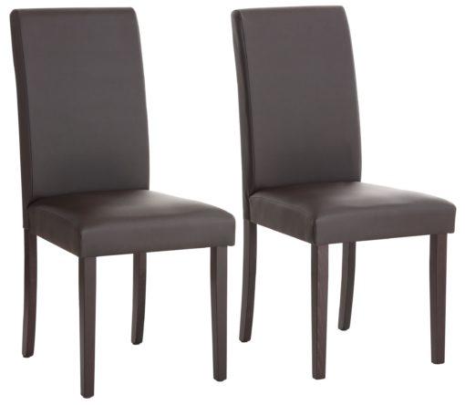 Stylowe, proste krzesła tapicerowane ekoskórą - 6 sztuk