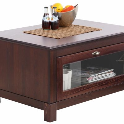 Funkcjonalny i dekoracyjny stolik kawowy z drewna sosnowego