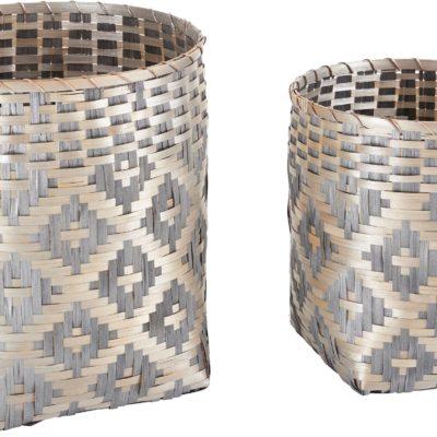 Zestaw dwóch bambusowch koszy ze wzorem