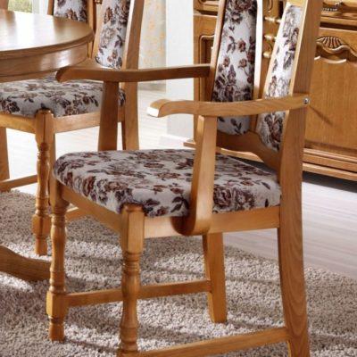 Klasyczne, dębowe krzesła z podłokietnikami - 4 sztuki