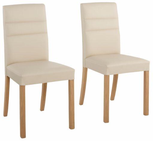 Eleganckie krzesła z beżowej sztucznej skóry - zestaw 2 sztuki