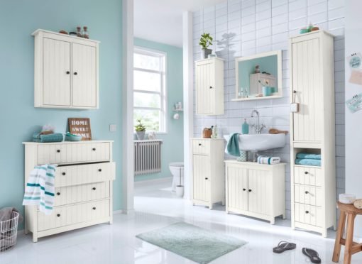 Lustro łazienkowe z białą, sosnową ramą