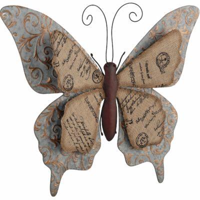 Dekoracja ścienna - motyl z metalu i drukowanej tkaniny