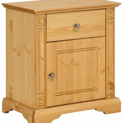 Klasycznie zaprojektowana, sosnowa szafka nocna