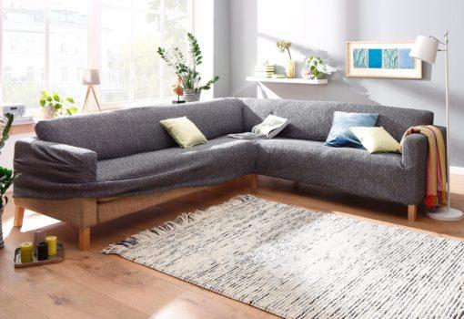 Elastyczny pokrowiec na sofę narożną, w kolorze szarym